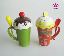 Wholesales Gift Colorful Ice Cream Ceramic Water Tea Milk Coffee Cup Mug with Handle and Lid