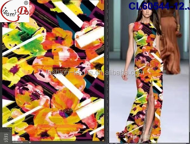 Fashion colors digital printed soft chiffon fabric,big flower and landscape painting patter polyester silk to make casual dress