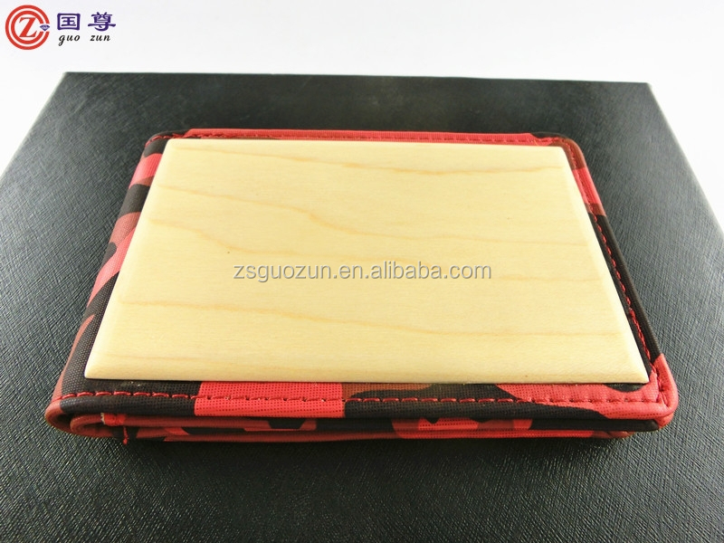 Wholesale special custom wood fabric business wallet/purse/burse/notecase