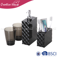 High quality large capacity plastic toothbrush holder soap dispenser washing cup tumbler bathroom accessory set of 4 pcs