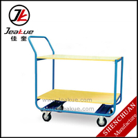 JEAKUE Hand Carts 200kg Push Double Layers Platform Trolley price