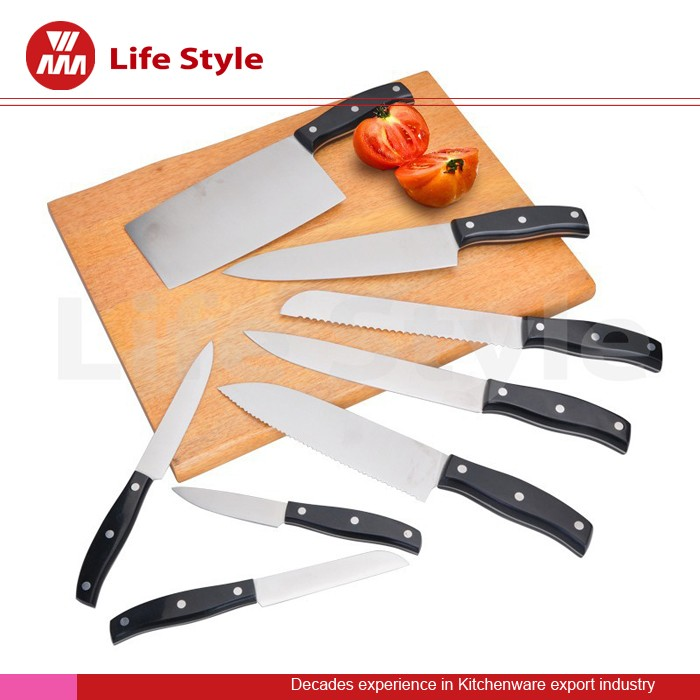 9 pcs multifunction kitchen knife set containing Chinese chef knife and wood cutting board