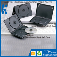 black 14mm single or double 2dis hard plastic cd dvd case