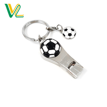 OEM hot sales Metal Sport style Whistle Nickel Split ring Souvenir Key Ring