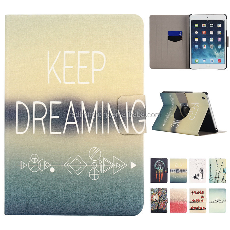 For iPad Mini Case Colorful Printing Design Rotating Stand PU Leather Case