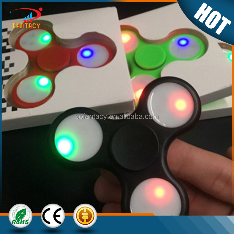 Tri Fidget Spinner toy with LED lights hand spinner with hybrid