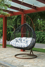Patio wicker double swing egg chair