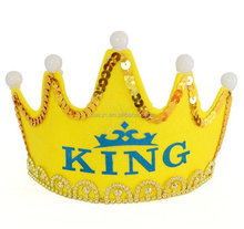Hot sales children and adult king Birthday royal crown with lighting
