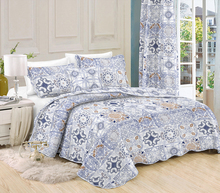 TOP SALE nattierblue rhomboid flower design bedspread cotton quilted bedspread