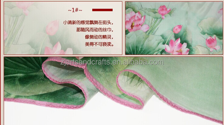 2017 Digital printing hand rolled real silk scarf women long