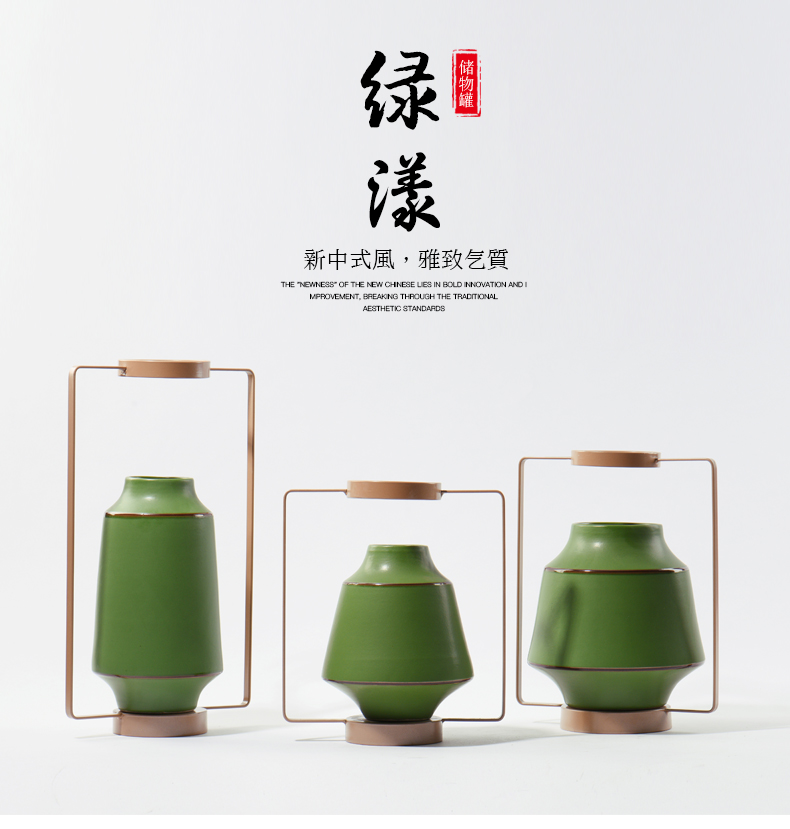 Chinese Home Decorative Green Porcelain Storage Jar