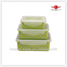 3pcs rectangle plastic food container set