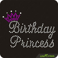 Princess crown birthday iron on rhinestone transfers
