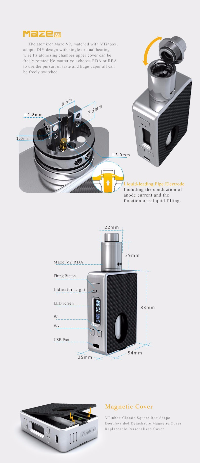 Full kit!! with 8ml Refillable Squonk Bottle HCigar 75W Box Mod VT inbox