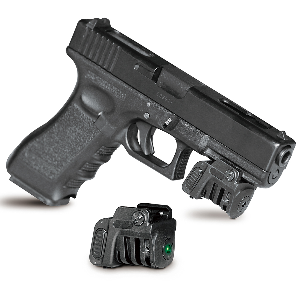 Universal rail mounted mini green laser sight for glock