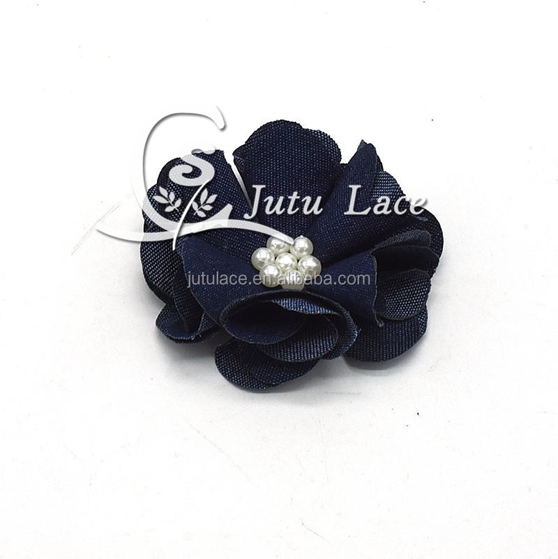 New Hot Sale!! 2.5'' denim pearl flower for girls hair accessories DIY