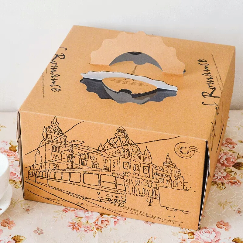 8 inch kraft paper cheese sandwich pizza packaging cake box