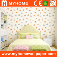 Natural home decoration velvet PVC Kids wallpaper