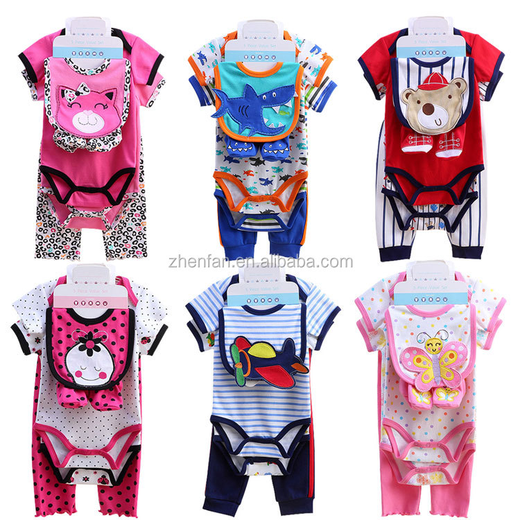 5 in 1 hot sale 100% cotton summer cartoon pattern baby clothing set short sleeve baby romper matching with long pants&shoes&bib