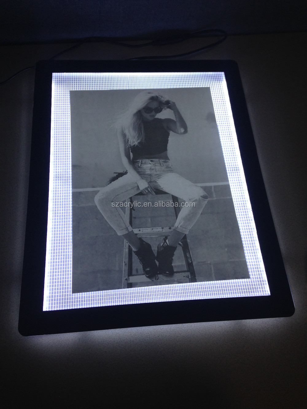 High quality modern led crystal acrylic poster frames with light