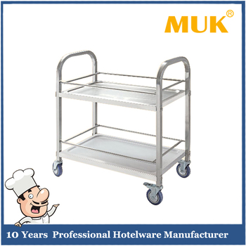 MUK Hot Sale Hotel Reataurant Kitchen Silver Square Tube Mobile Liquor  Trolley