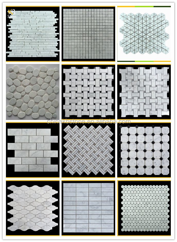"Bianco Carrara Hexagon 1"" Marble Mosaic Pattern"