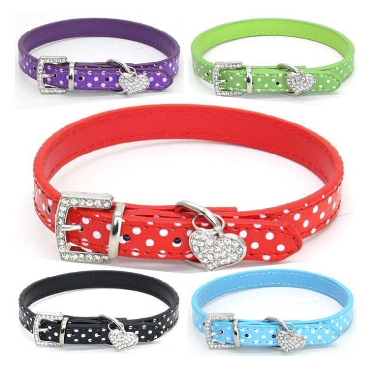 Cute PU Dot Heart Dogs Pets Collars Chain Leads Leashes