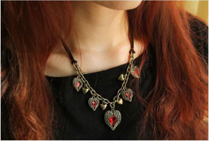 C3010 Korean version of the Vintage angel wings peach heart love Ruby Multi Leather Short fashion necklaces