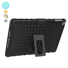 Hybrid tpu pc tablet protective case 8 color logo printed for ipad 2017 cover case with kickstand