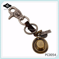 PC0054 Punk Leather Keychain Western Cowboy Hat Charms Leather keychain maker