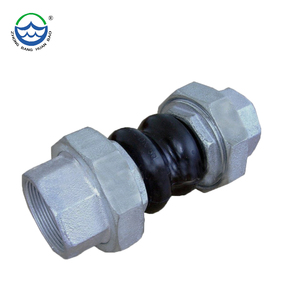 EPDM PN16 screw twin sphere union type rubber flexible joint union threaded