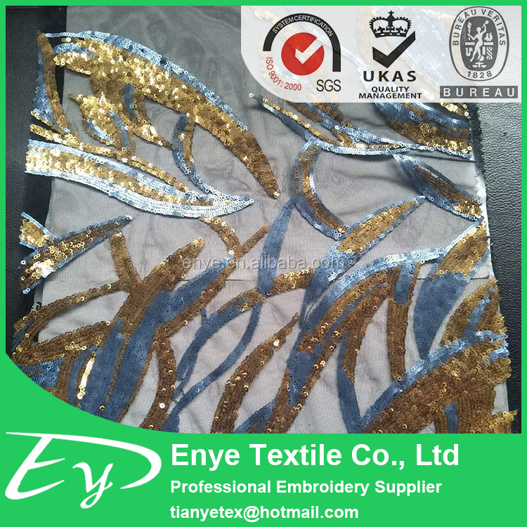 Hot sale & high quality EY-12964 poly mesh 3mm double color gold sequin fabric embroidery