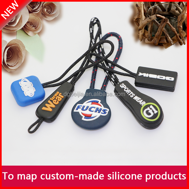Custom waterproof rubber silicone soft pvc zipper puller for bag