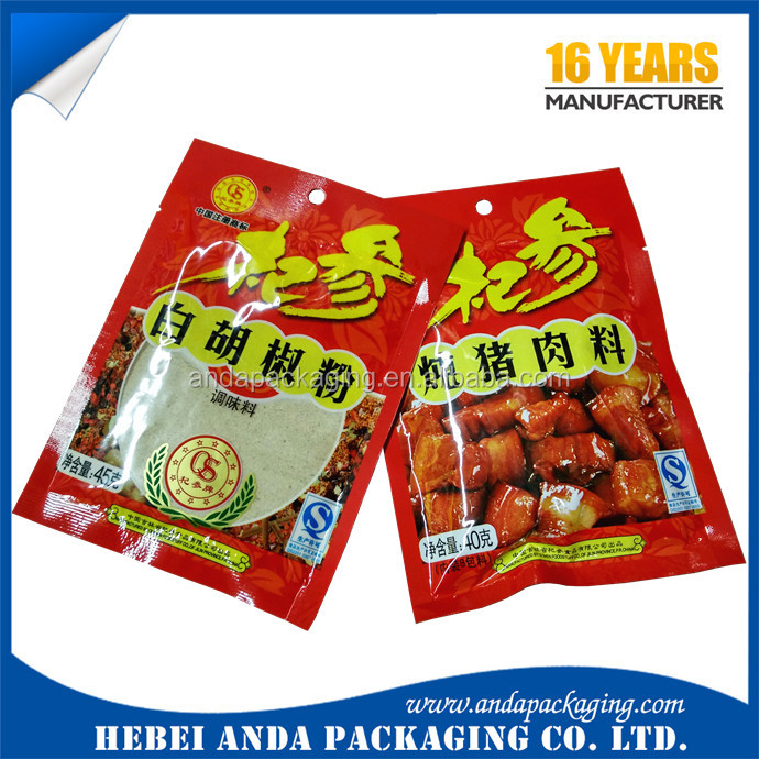 Transparent 3 side seal flat pouch for powder packaging bag/condiment seasoning powder sachet sealing plastic printed film