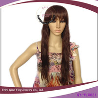 Nature synthetic long brown finger wave wigs with big bangs