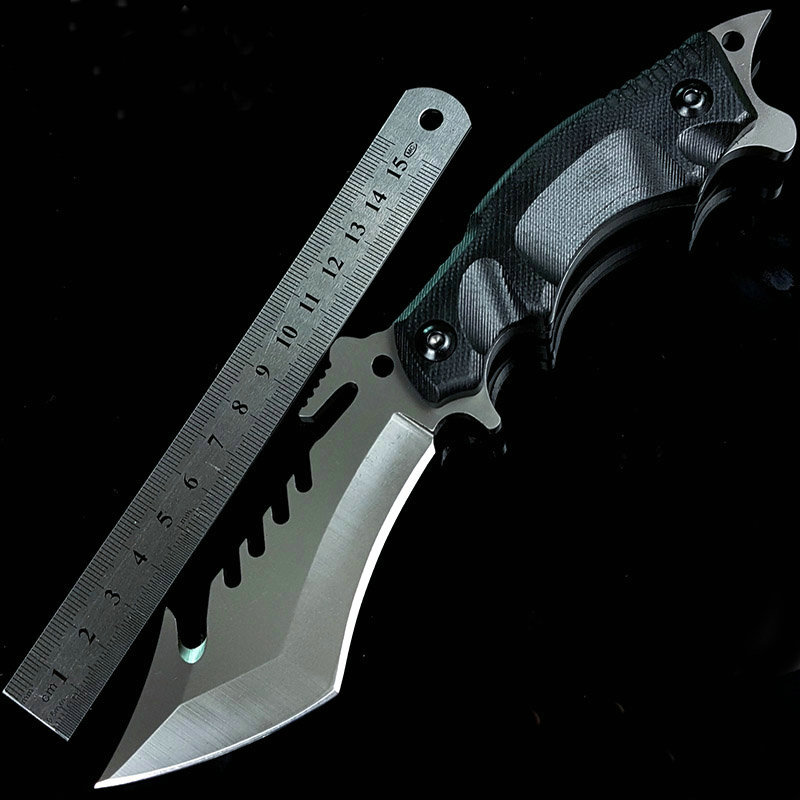 Grey Titanium 7CR13 Blade Steel Knife Straight Survival Knives with G10 Handle Tactical Tools 58HRC Dropshipping 2756