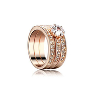 Free Shipping 18K Rose Gold Plated Classic Stack 3 Paved Bands CZ Stone Finger Ring