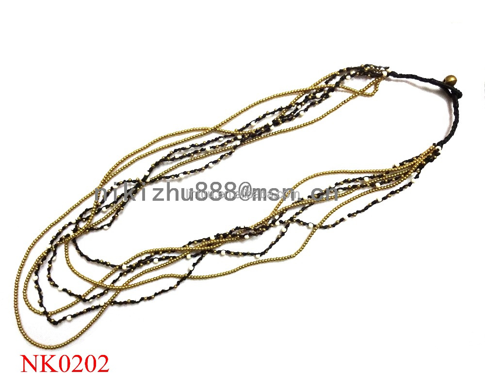 Fashion jewelry 6 layer natural stone beads thai brass bell necklace