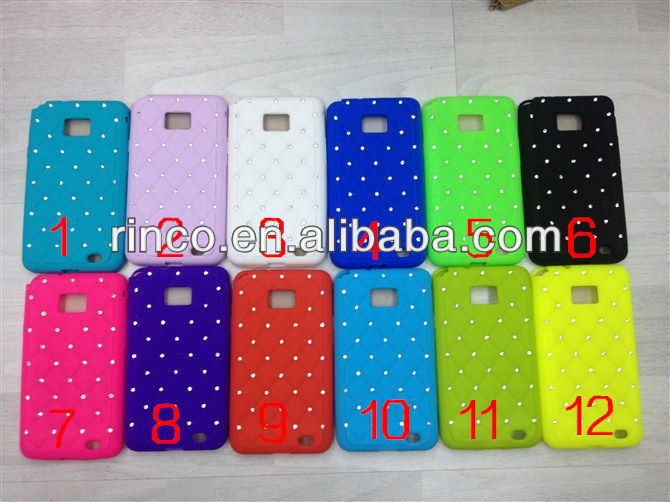 Luxury Bling Diamond Crystal Star Soft Silicone Back Phone Case Cover Skin For Samsung Galaxy S2 SII i9100