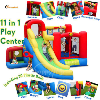 Happy Hop inflatable bouncer-9406 11 in 1 Play Center combo slide bouncer