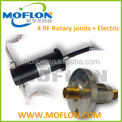 MHF408 slip rings, 4 RF Rotary joints + Electric, swivel joint, rotary union high frequency From MOFLON