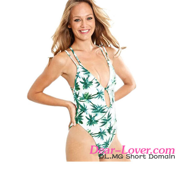 Open Sexy Lady 2017 Beach Hot Palm Island One Piece Brazilian Swimwear