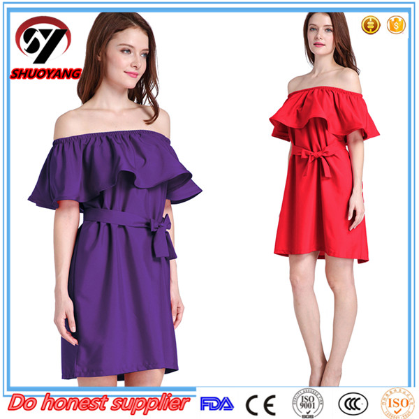 Hot Sale High quality Ladies Short Sleeve Splicing Color Midi Evening Party Dress