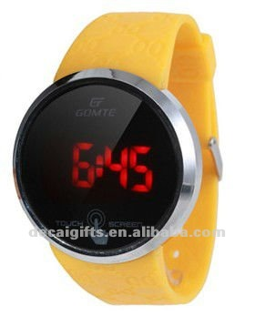 Yellow band Silicone LED touch Watch Glow in Dark watch