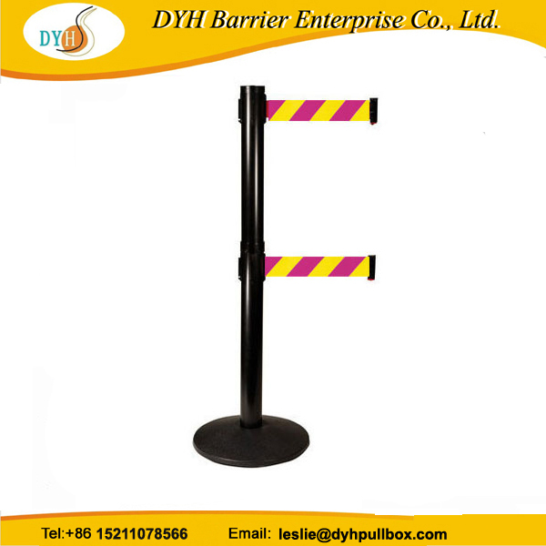 dual retractable belt stanchion post/dual line crowd control barrier