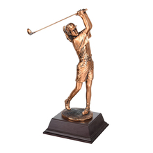 Resin Outdoor/Home Trophy Decor Sculpture Female Golfers Life Size Golfer Statue