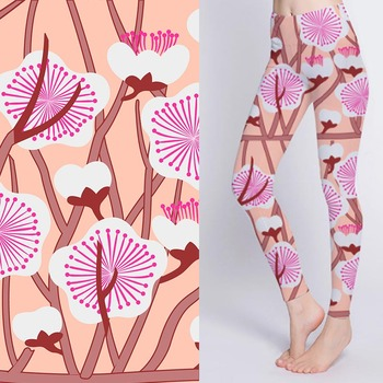 Breathable digital printed stretch flower print pants fabric for yoga