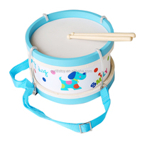 Taizhou BSCI FSC wood factory wood body 2 sides plastic surface drum heads to prevent mold wooden drum toys for kids educational