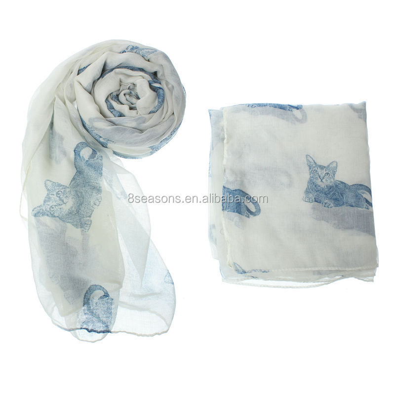 2015 Newest girl's White Lovely Cat printed voile scarf