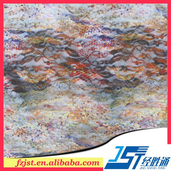 Application Lace Manufacturers Spandex Stretch Printed Lace Knitting Fabric